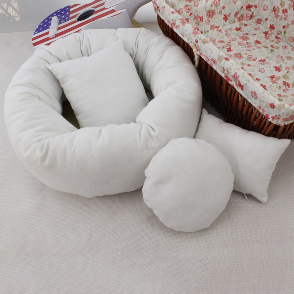 4 pcs set baby photography costume wheat donut posing props baby pillows ring newborn photography props basket filler in hats caps from mother kids on