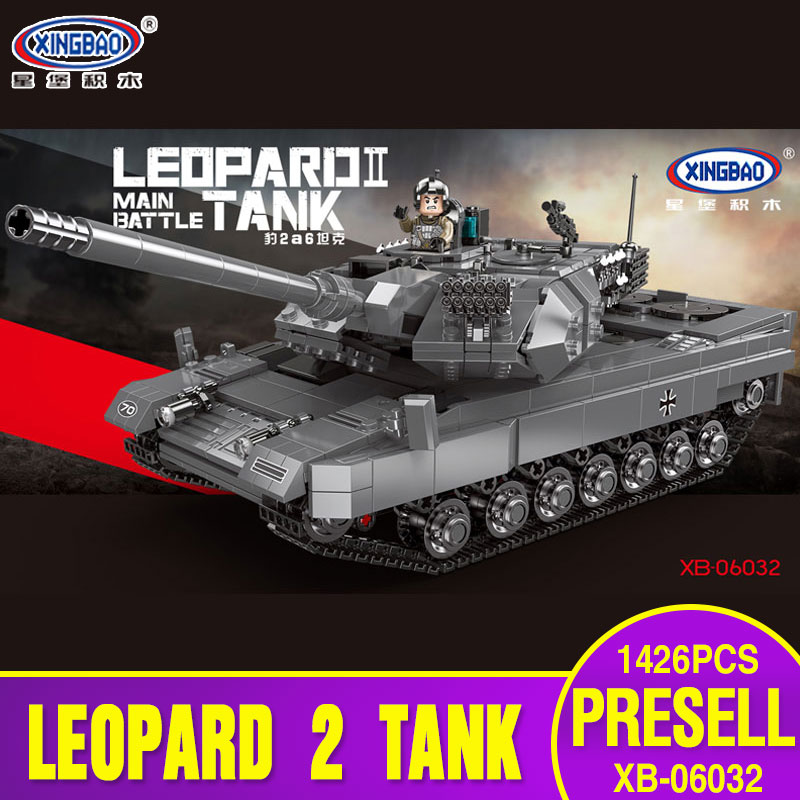 купить XINGBAO 06032 Military Series The Leopard 2 Tank Set Building Blocks Bricks Tank Toy Model Children Toys Birthday Christmas Gift онлайн