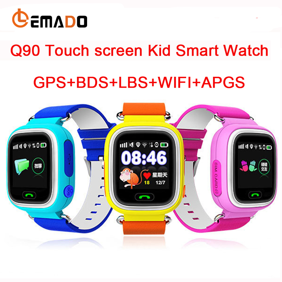 Lemado Multicolor Touch Screen GPS Smart Watch Q90 Wristwatch SOS Location Tracker Kid Safe Anti Lose Smartwatch Support Russian