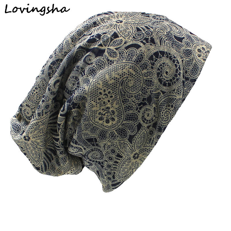 LOVINGSHA Autumn Winter Dual-use Vintage Cashew Design Hat For Ladies thin   Skullies   And   Beanies   Women Scarf Face Mask HT016