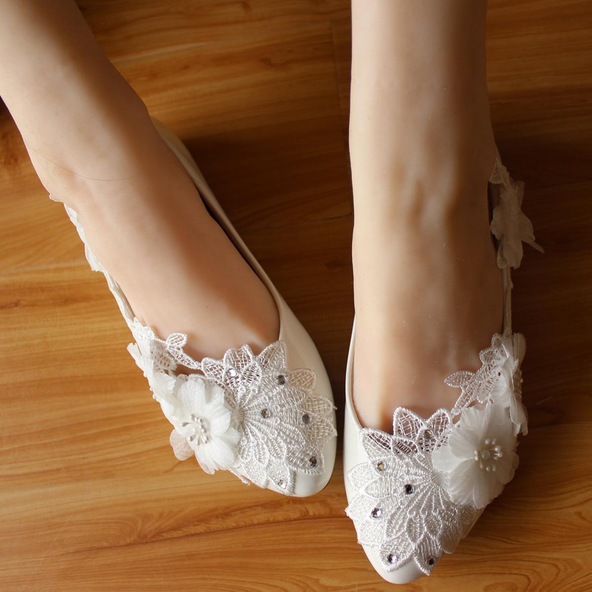 Lace Flower Rhinestone Flats font b Women b font Wedding Shoes Handmade Ballet Shoes Large Size