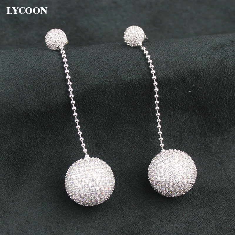 LYCOON brand design ball crystal dangle Earrings prong setting round AAA Cubic Zirconia shape ball earrings Jewelry for women цена