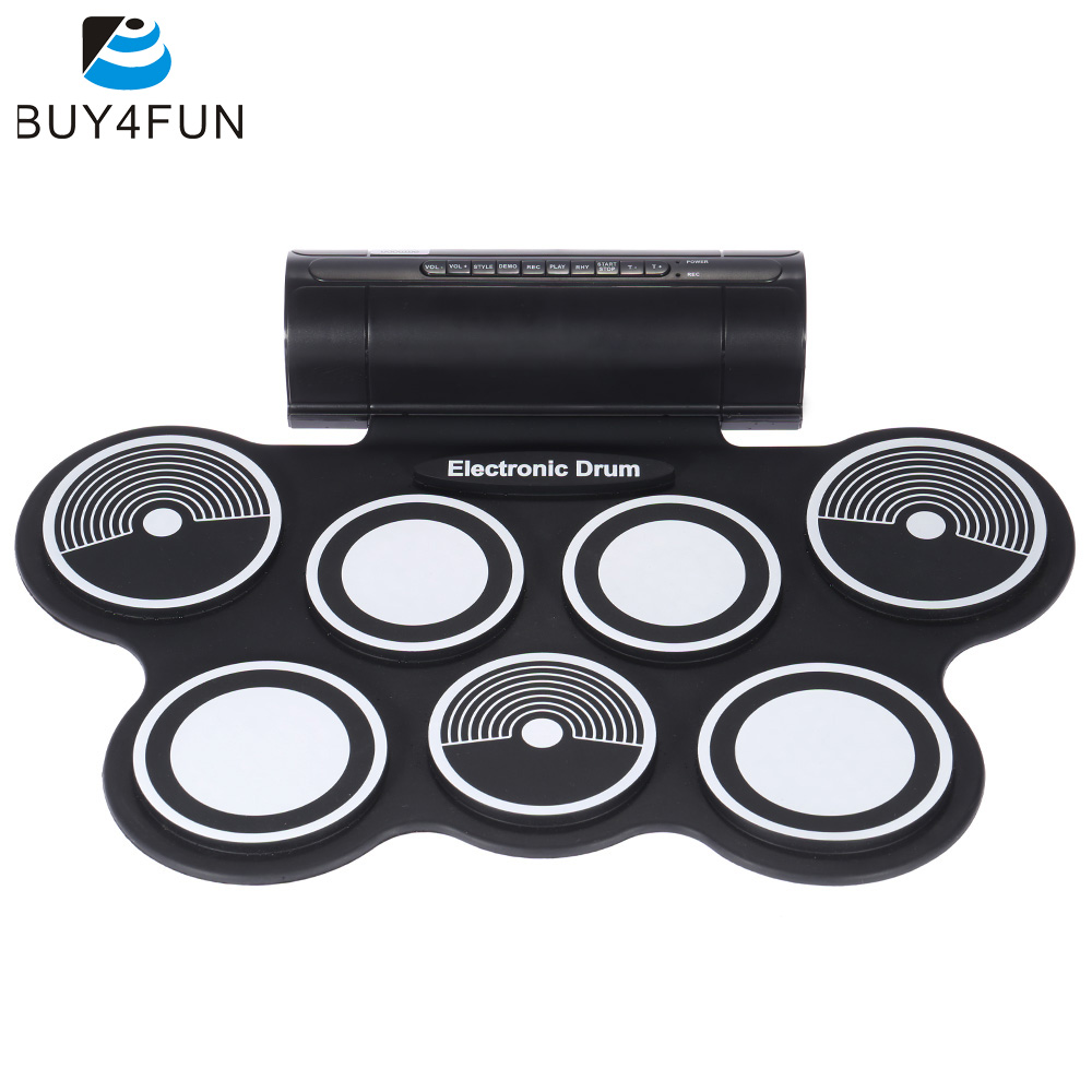Portable Foldable Silicone Electronic Drum Pad Kit Digital USB MIDI Roll up with Drumstick Foot Pedal