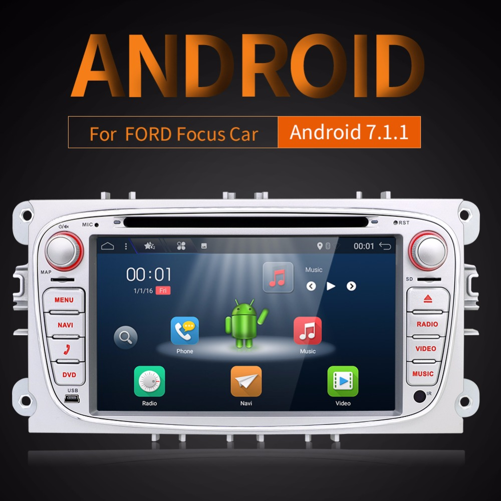Android 7.1.1 Two Din 7 Inch Car DVD Player For FORDFocusS-MAXMondeoC-MAXGalaxy RAM 2G WIFI GPS Navigation Radio