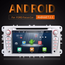 Android 7.1.1 два Din 7 дюймов dvd-плеер автомобиля для FORD/Focus/S-MAX/Mondeo/C-MAX/ galaxy Оперативная память 2 г WI-FI gps навигации радио