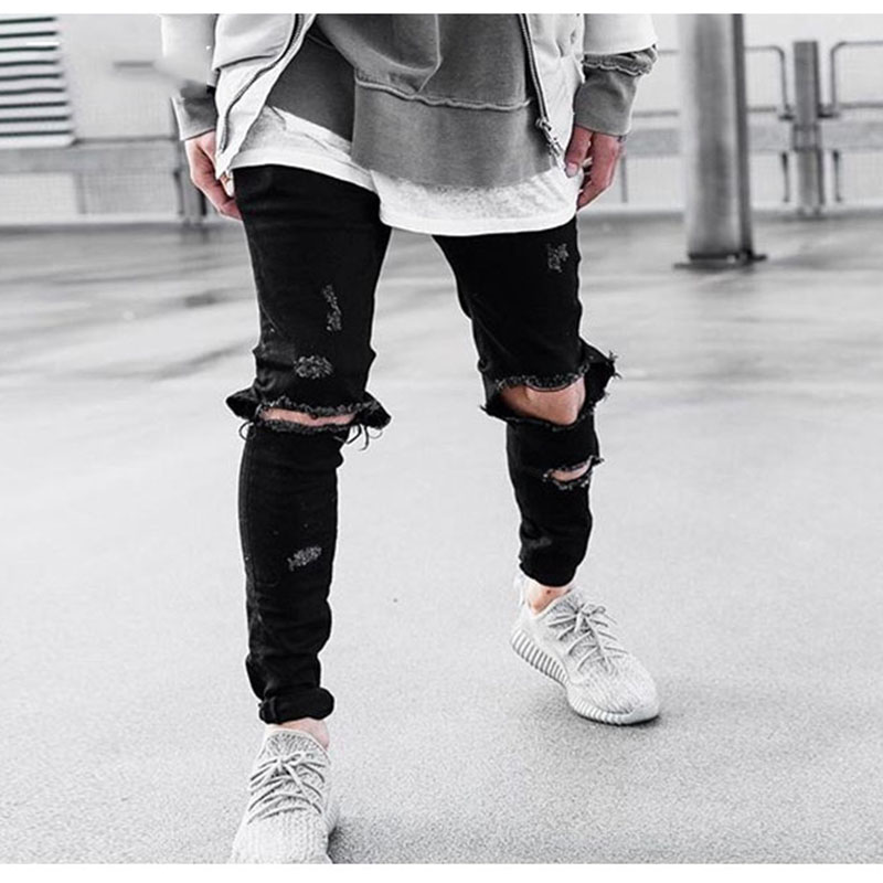 Aolamegs Denim Knee Hole Men Jeans Slim Fit Destroyed Skinny Pants Fashion Black Hip Hop Zip-up Trousers High Quality Streetwear 2017 new hiphop men hole jogger pants high quality casual destroyed skinny ruched jeans hole casual pants jogger rock jeans