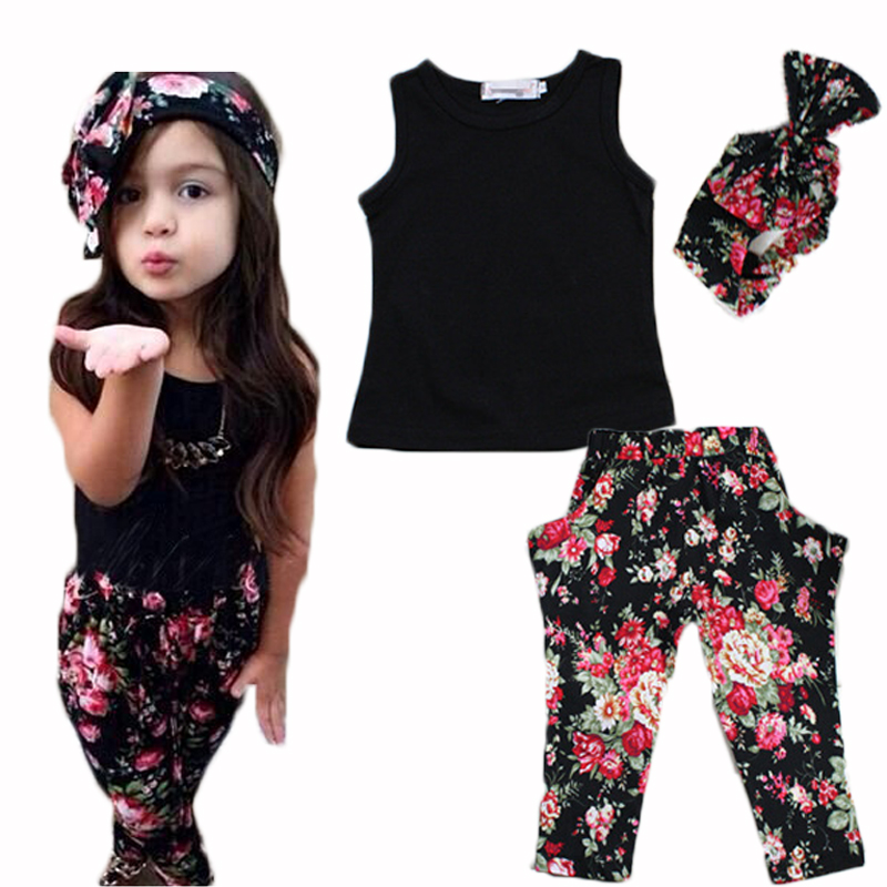 Summer Girls Clothing Sets Cotton Fashion Kids Clothes Flower Baby roupas infantis menina Children Costume 3pcs 2016 brand cute girls clothes summer children dresses plaid casual princess dress girls vestidos 10 old roupas infantis menina