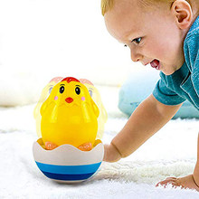 2019 Baby Tumbler Toy, Toy with Sound, Hand Development Rattle Toy for Toddler and Kids,Tumbler toy/Yellow chick/Blue penguin(China)