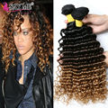 Malaysian Deep Wave Blonde Ombre Curly Malaysian Virgin Hair 4 Bundles Malaysian Deep Curly Virgin Hair Cheap Human Hair Weaves