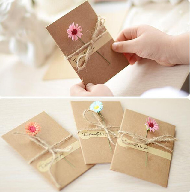 diy retro kraft paper handmade dried flower greeting card christmas new year blessing universal festivegreeting invitation