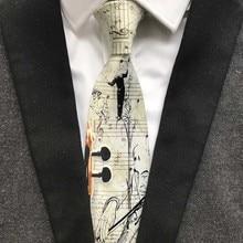 Fashion Unique Design Polyester Black and Violin Ties 9cm Classic Artisit Necktie Gentlemen Woven Gravatas for Men