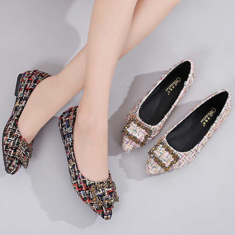 a2fed75036572 POADISFOO Woven women s Shoes Square Buckle Rhinestone Single Shoes Female  Pointed Shallow Mouth Flat women s Shoes.LXP 335 81-in Women s Flats from  Shoes ...