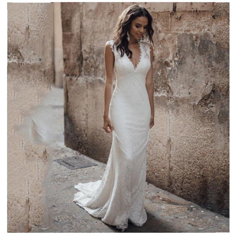 LORIE Lace Wedding Dress 2019 Vestidos De Novia V Neck Lace Sexy Bridal Gown Elegant Backless Wedding Gowns