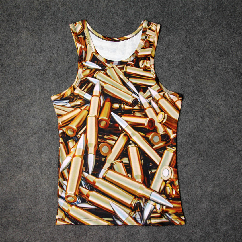 Fashion Pile of Bullets 3D Print Tank Tops Kids Men Women Undershirt teen Cotton Tee Loose Unisex Garment