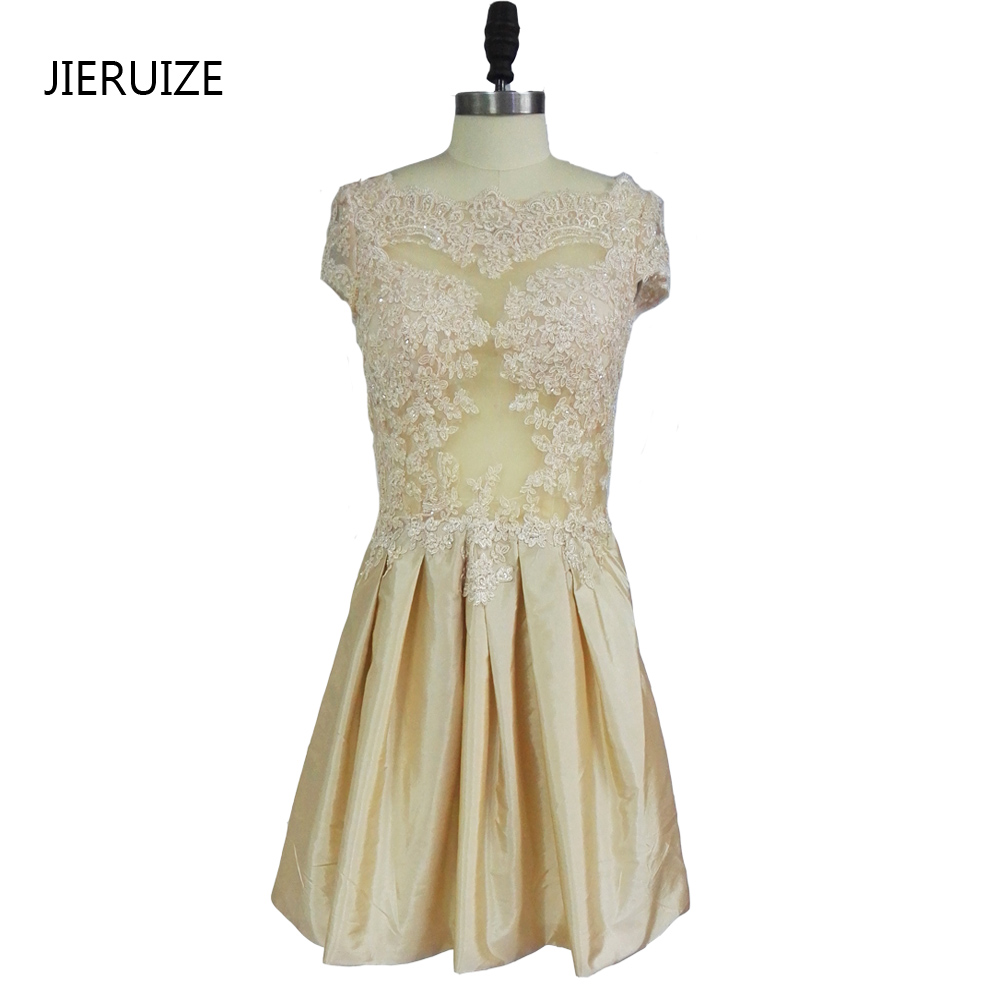 JIERUIZE vestidoデ・フェスタシャンパンレースアップリケビーズショートウエディングドレス2017安いショートカクテルパーティードレス