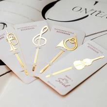 40 pçs/lote Instrumento bookmarks estilo Da nota da Música livro marca banhado a Ouro clipe ferramenta de Escritório Escola suprimentos marcador de livros F145