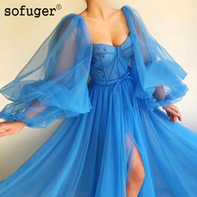 купить Blue Puffy Sleeves Exquisite Sweetheart Long  Tulle Evening Dress Slit Prom Vestidos De Fiesta Formal Party Dress Arabic Muslim по цене 4783.24 рублей