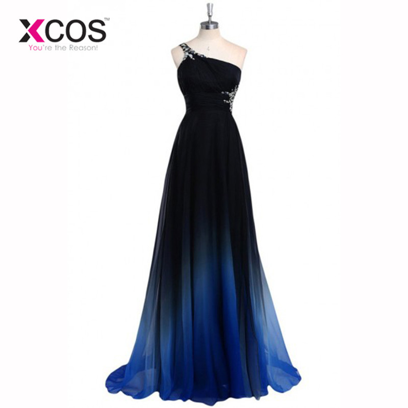 Latest Ombre Prom Dress One Shoulder Gradient Evening Dresses Beads 2016 Special Occasion Dress Backless Vestidos