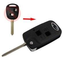 2 Кнопки Складные Дистанционного Ключа Автомобиля Чехол для Toyota Camry Эхо Avalon Corolla RAV4 Ключа Автомобиля Shell Флип Uncut Fob Крышка Автомобиля лезвие
