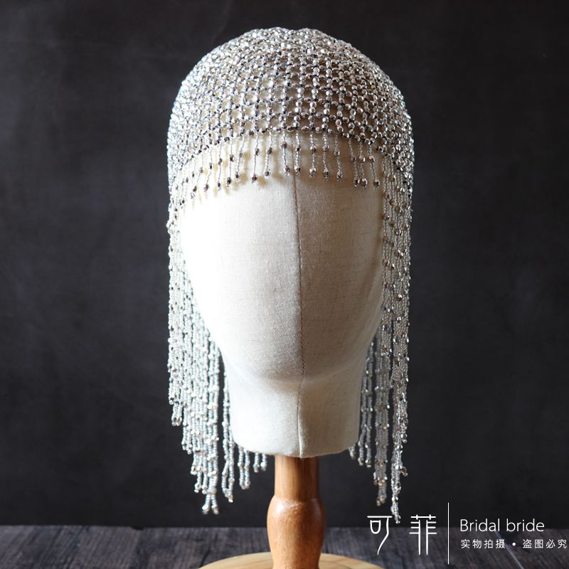 1920s Beaded Cap Headpiece Roaring 20s Beaded Flapper Headpiece Belly Dance Cap Exotic Cleopatra Headpiece for Gatsby Themed Party (Silver)  (2)