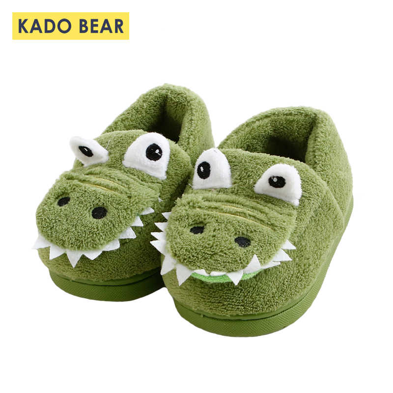 Children Cotton Winter Warm Bedroom Shoes Kids Fur Plush Indoor Home Baby Girls Toddler Boys Cartoon Dinosaur Non-slip Slippers