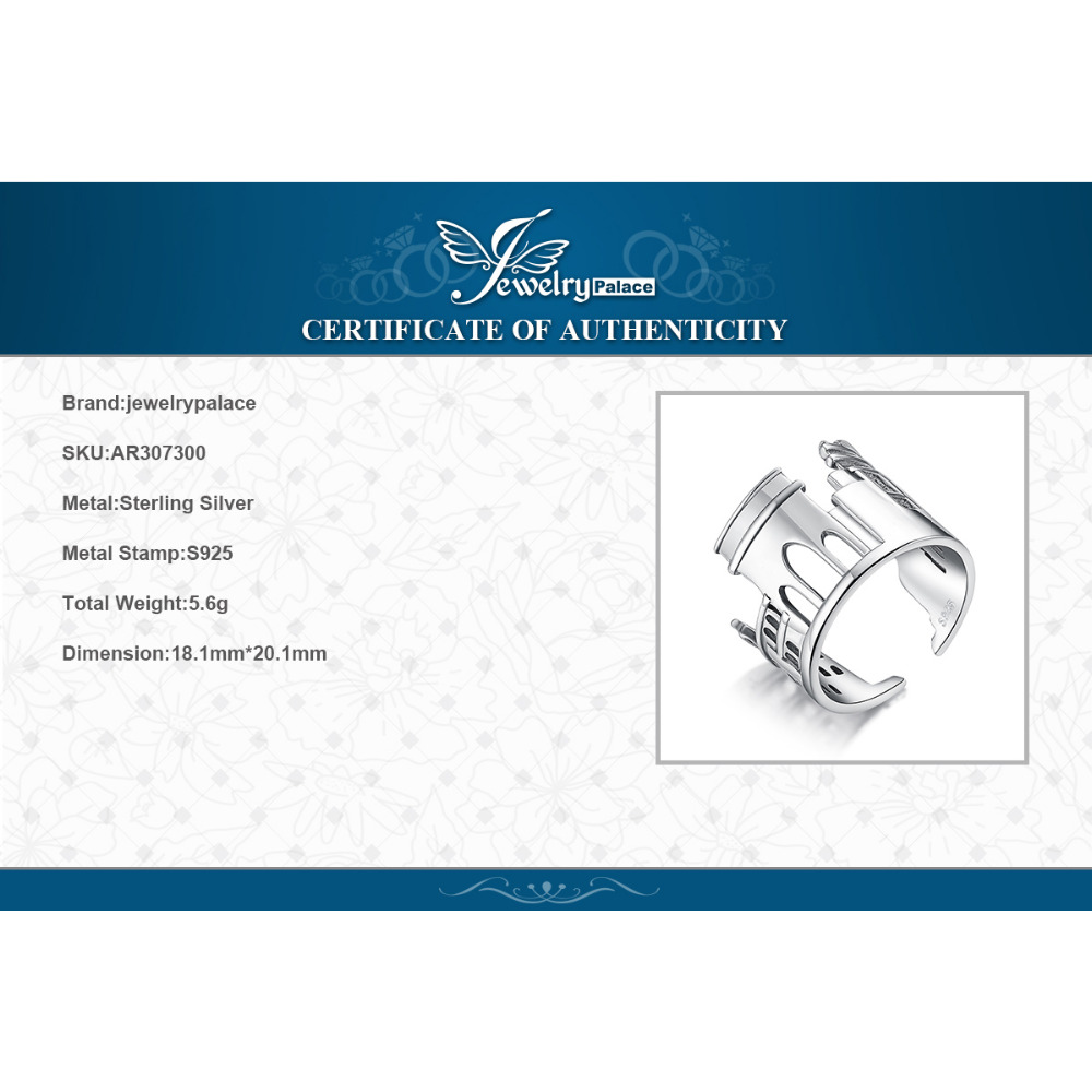 Image 5 - JewelryPalace Marble Arch Rings 925 Sterling Silver Rings for  Women Open Stackable Ring Band Silver 925 Jewelry Fine JewelryRings