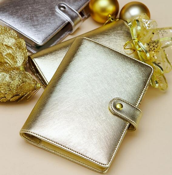 dokibook original A5& A6 PDA 6 hole loose-leaf notebook diary hand books  native silver & gold