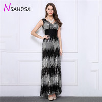 New Promotions Summer Maxi Dresses Female Evening Party Black And White Fancy Sequins Deep V High Waist Clothing 2018 Vestidos