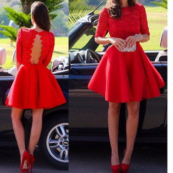 Red Full Sleeve A Line Short Mini Cocktail Party Lace Prom Homecoming Dress Graduation Dress Size  2 4 6 8 10 12 14 16