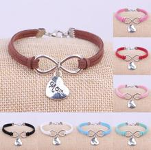 Fashion Silver Family Mother Mom Charms Pendant Leather Infinity Bracelet Cuff