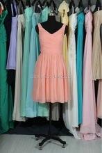 Real Sample V Neck Short Chiffon Coral Bridesmaid Dress Vestido de madrinha
