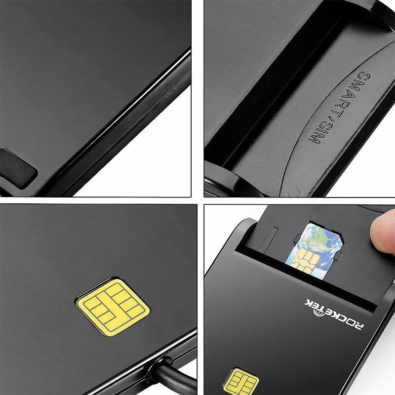 Rocketek USB 2.0 Smart Card Reader cac,ID,Bank card,sim card cloner connector cardreader adapter pc computer laptop accessories 5