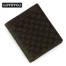 Telephone Card Fashion Couple Models Purses Head Layer Cowhide Wallet Short Design Men Women Brown Letter Open Wallet Brand 20X2