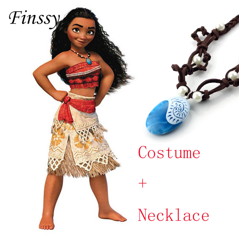 2018 Movie Princess Moana Costume for Kids Cosplay Costume Women Carnival Party Dress Halloween Costume for Girls Skirt Necklace
