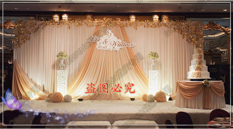 Romantic Wedding stage curtain with champagne swag wedding