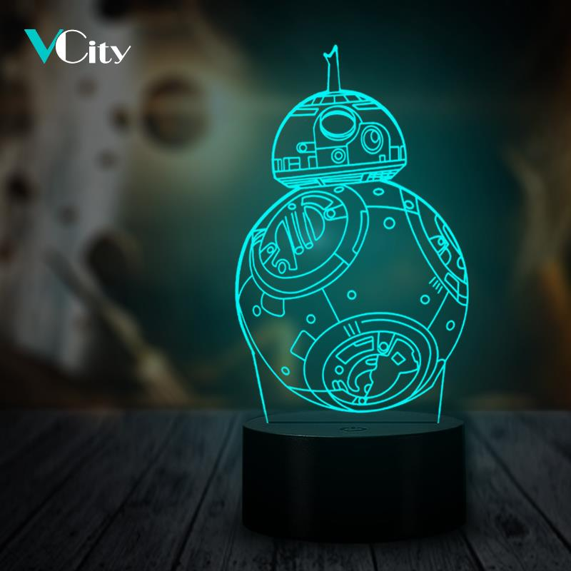 VCity BB8 Robot 3D Light LED USB Mood Night Lighting Multicolor Luminaria Table Lamp Gifts for Kids Star Wars Collection Fans