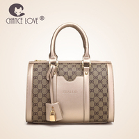 Chance Love 2018 fashion portable handbag lock pendant platinum gold shoulder bag female Geometric pattern Boston crossbody bag