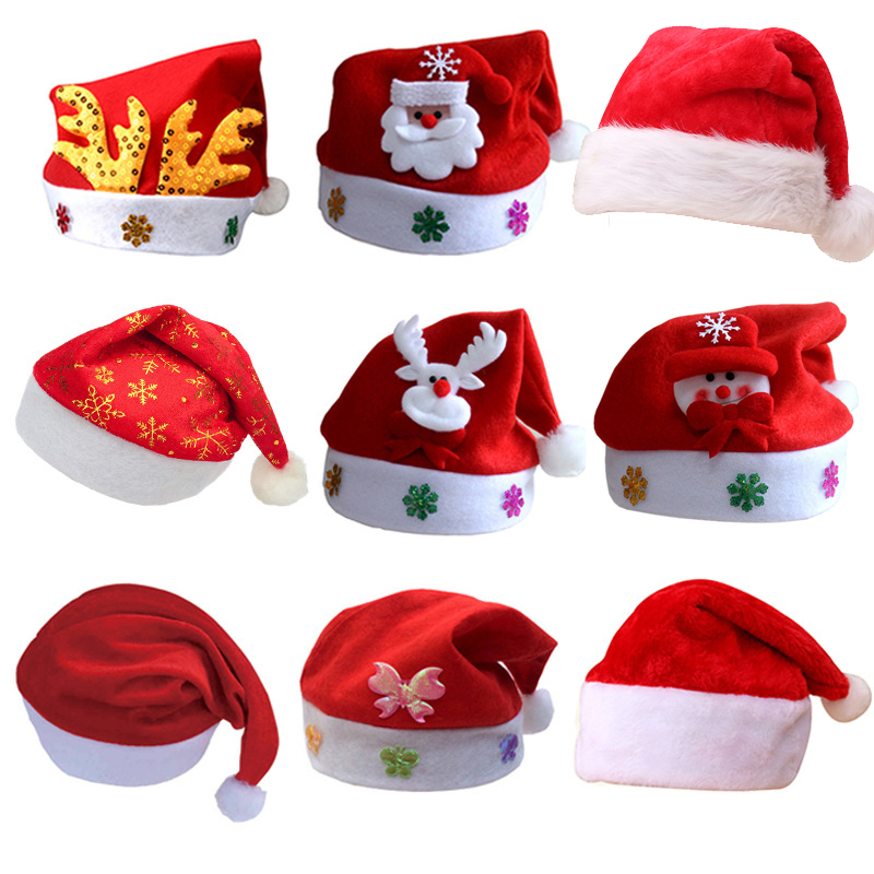 Wholesale 12pcs Kids Adult Christmas Hat Santa Claus Reindeer Snowman Xmas Gifts Cap Bonnet De Noel Adulte Santa Claus Hat