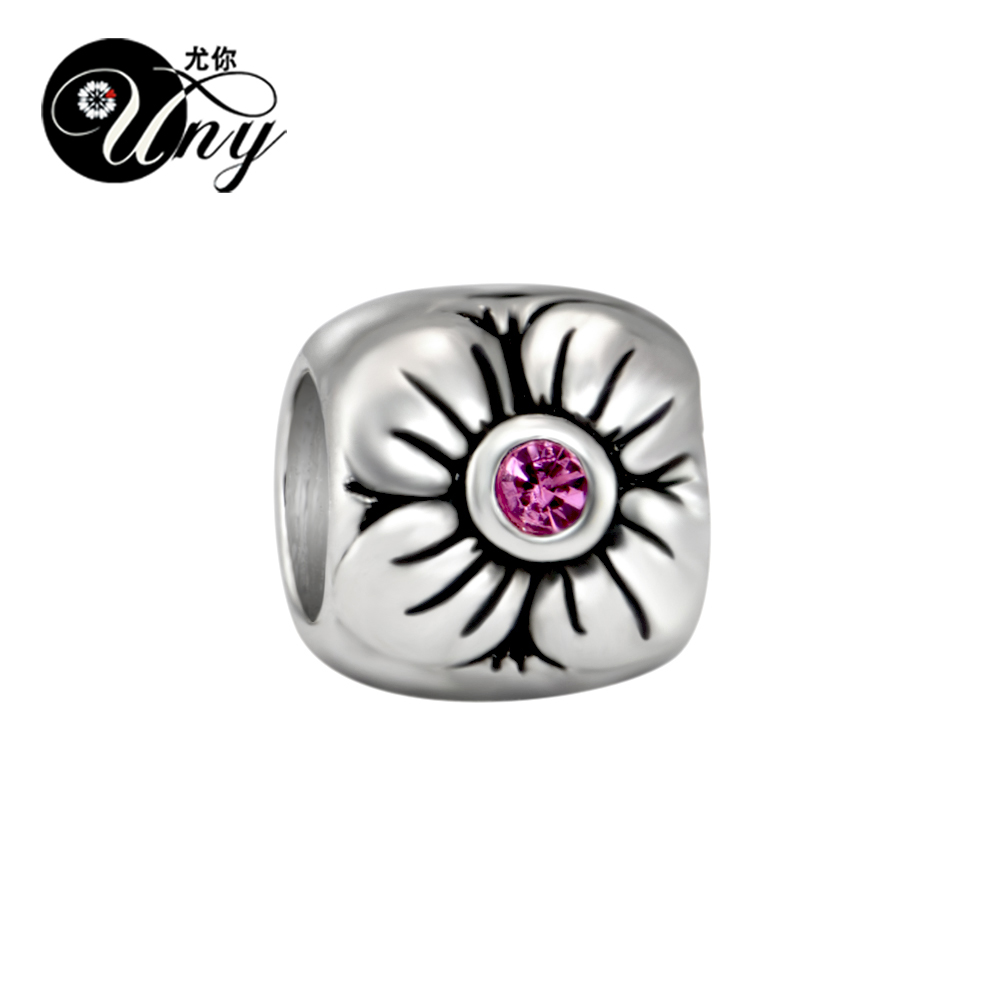 UNY Unique Beads Vintage DIY European bead Fit Pandora charm Beads bracelet 925 Silver Flower Stone Spacer Bead Fit Pandora