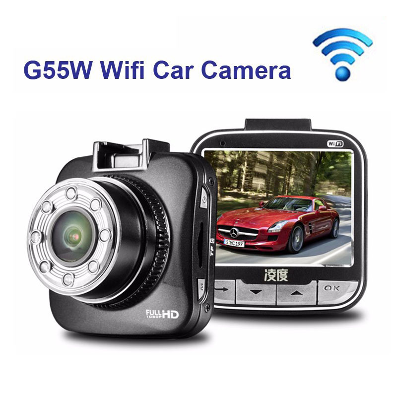free shipping g sensor i o h 264 4 channel 256g sd wifi mobile car dvr support ios android phone pc real time view for car truck Free Shipping!!G55W Wifi Car Camera Recorder Full HD 1080P 30fps 2.0 LCD with G-sensor IR Night Vision Support Wifi IOS Android
