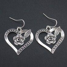 Women Fashion Accessories Silver Tone 1.1″X1.0″ Flower Heart Dangle Earring Gift For Women Lady Wholesale 4445