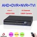 Hisilion Sensor De Quatro em Um DVR 8 Channel 8CH 1080 P/960 P/720 P/960 H 4 em 1 Coaxial TVI AHD DVR Com Controle Remoto Frete Grátis