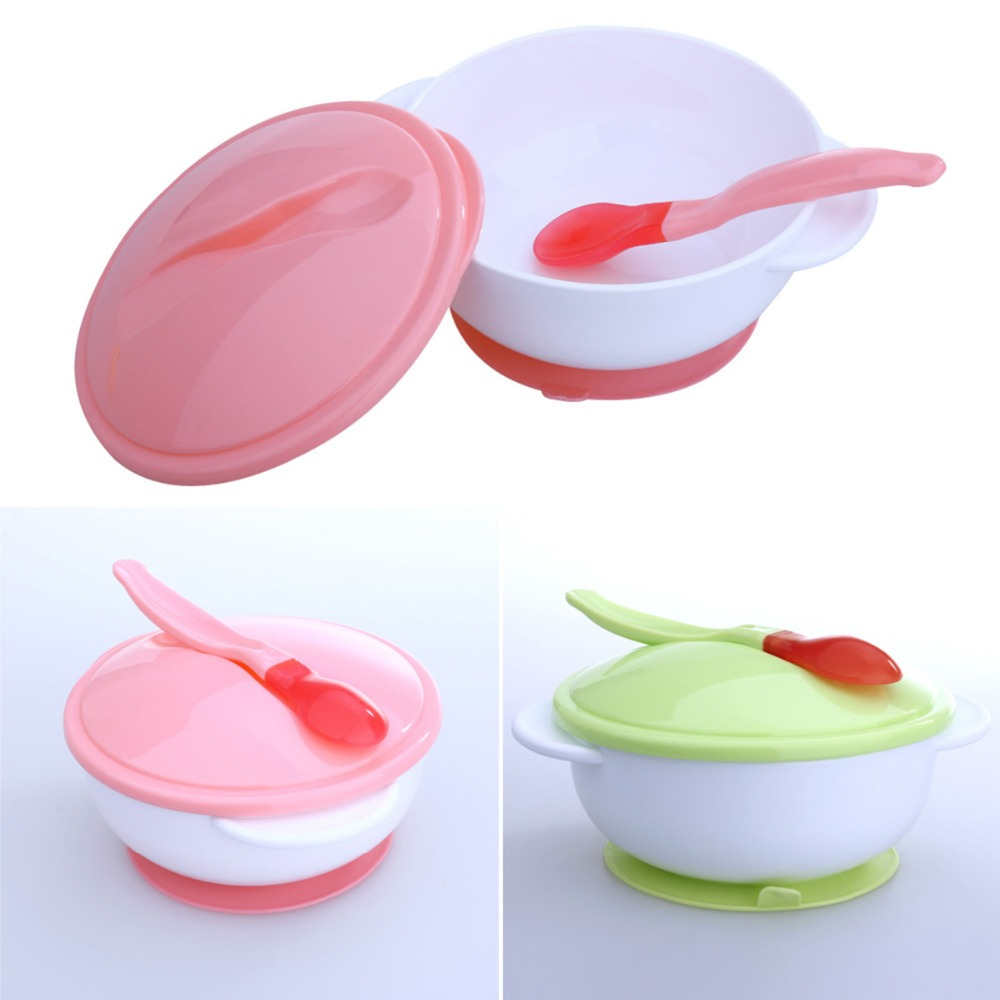 3Pcs/set Baby Tableware Dinnerware Suction Bowl With Temperature Sensing Spoon Baby Food Baby Dinner Feeding Bowls Dishes