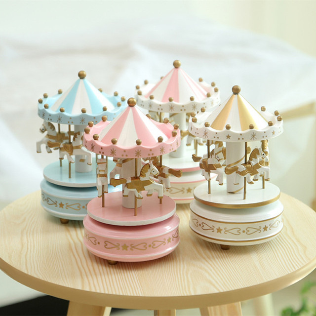 Merry Go Round Wooden Carousel Horse Music Box Christmas Wedding Birthday Gift 2 Colors