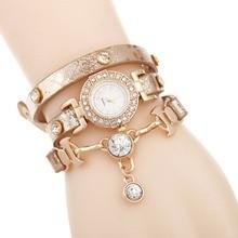 Sloggi bracelet digital for women big diamond pendant Winding quartz feminino punk rivet watch AC132