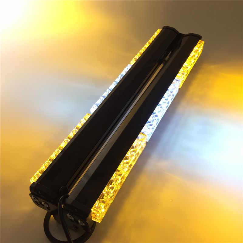 DC12V ambos lados 6*6 LED amarillo blanco largo coche camión LED emergencia estroboscópico Luz de rescate de la lámpara del vehículo policía advertencia iluminación