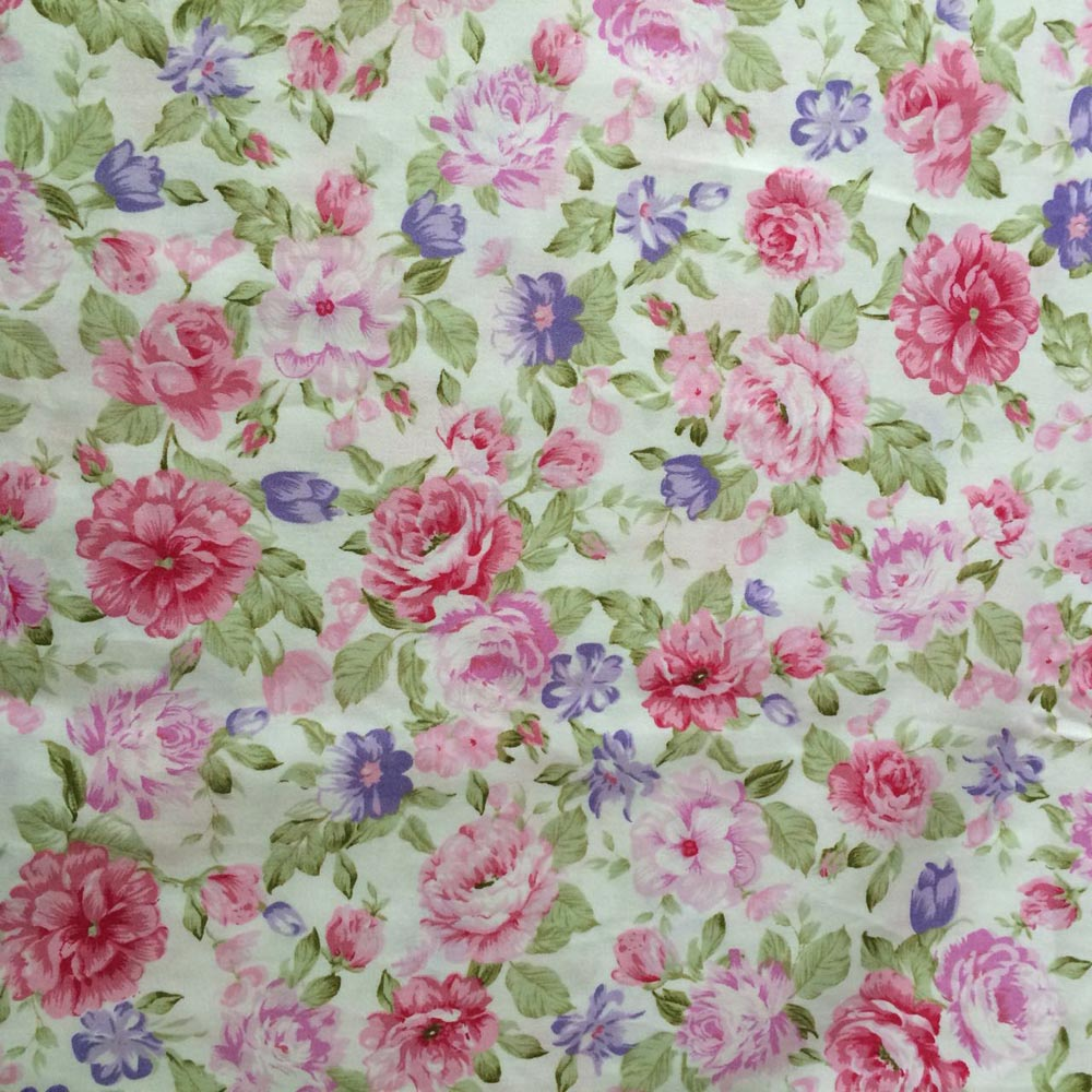 100 Cotton Pastoral White With Pink Chinese Rose Floral Flower