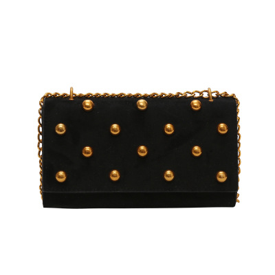 New Arrival Summer Women's Fashion Shoulder Bags Metal Rivet Diamonds Chains Crossbody Bags Black Brown Party Bag