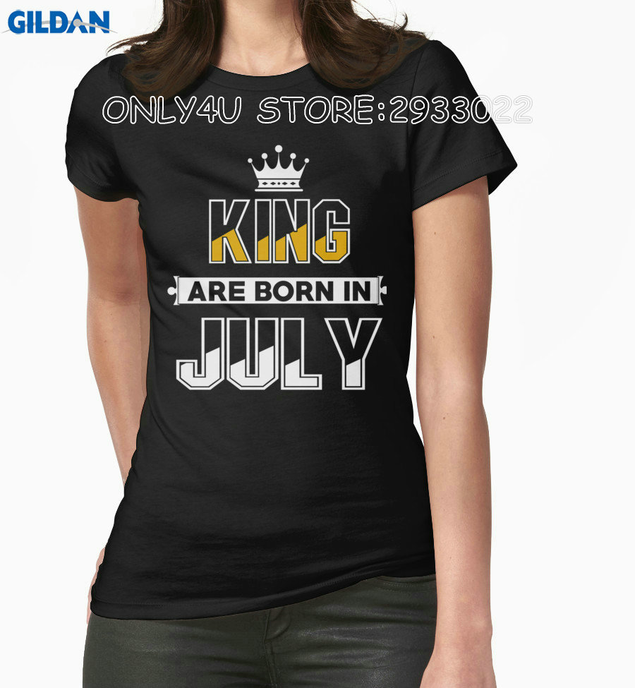 Gildan Only4U Fashion T Shirt Hipster Cool Tops Graphic O-Neck King Are Born In July Compression T Shirts For Women