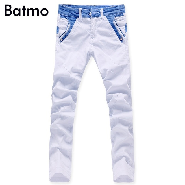 a05c51e2da22 2017 uomini di modo denim jeans bianchi pantaloni casual pantaloni diritti  dei pantaloni del progettista di